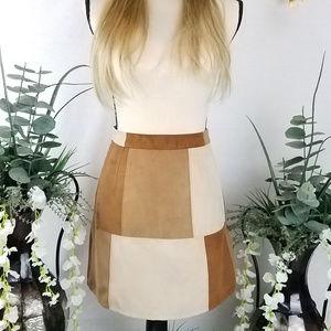 Hollister Vegan Suede Patchwork Skirt